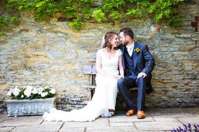 Bride and Groom portrait at The great Barn