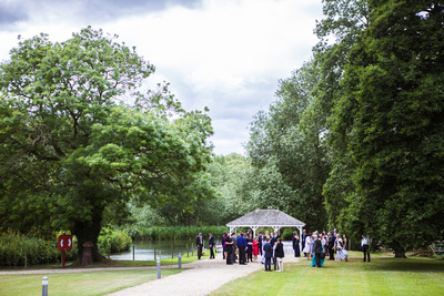Photo of the wedding ceremony setup by the river