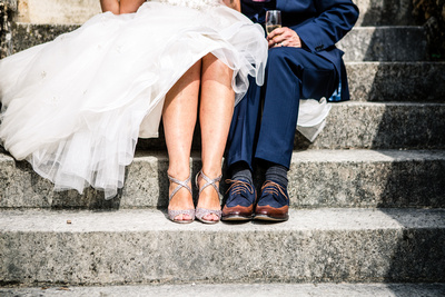 Bride and Groom portrait. close up of feet