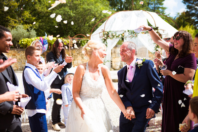 confetti shot at wedding in france, documentary style wedding photography