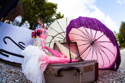 Pink Parasols at country wedding in France