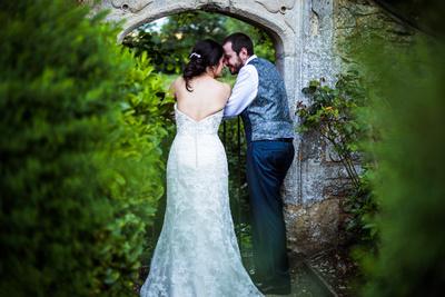 Bride and groom portrait at Oxford Thames Devere wedding