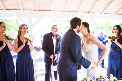 Photo of the first kiss at wedding