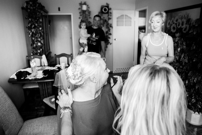 Bride getting ready.mother of bride shot