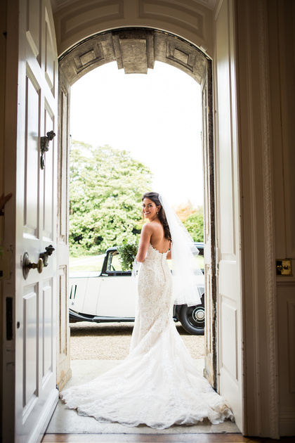 wedding photography at Ardington House, bride leaving for church at Ardington House-258