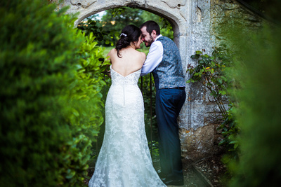 Bride and groom portrait at Oxford Thames Devere wedding