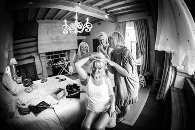 Bride and bridesmaids getting ready documentary style wedding photography