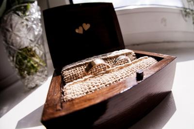 wedding rings in wedding box